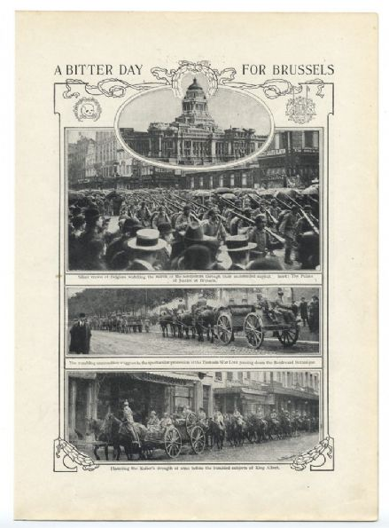 1914  WW1 Print BRUSSELS INVASION Palace Justice BOULEVARD BOTANIQUE Drie Pikkel